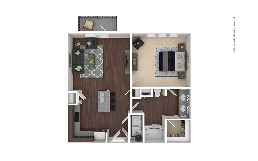 A7 1 bedroom 1 bath 824 square feet