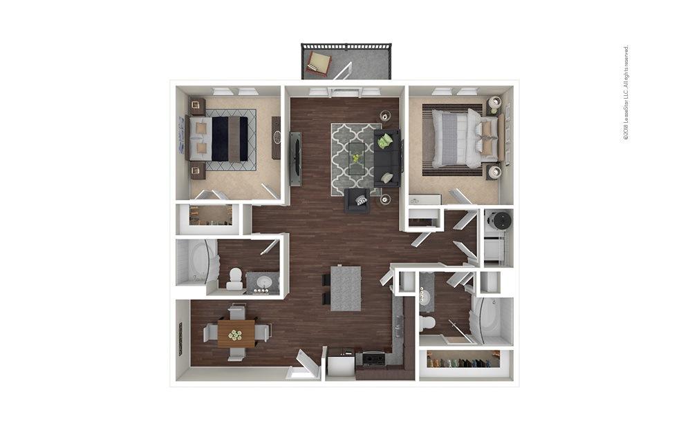 B3-B4 2 bedroom 2 bath 1128 - 1152 square feet