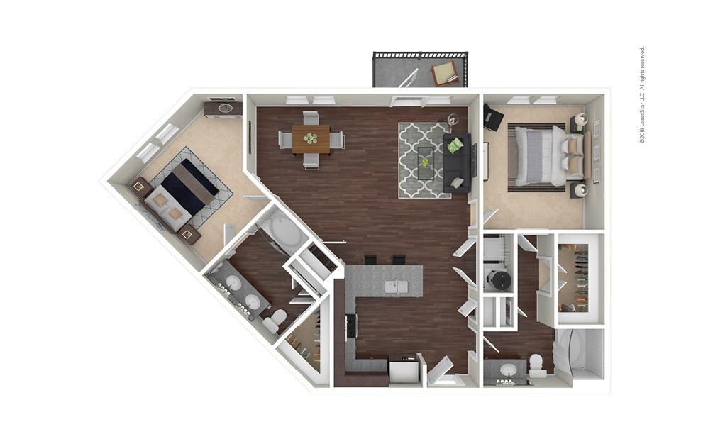 B5 2 bedroom 2 bath 1213 square feet