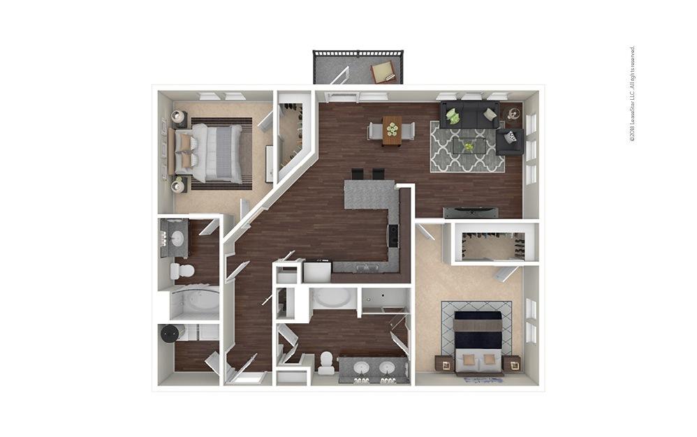 B7 2 bedroom 2 bath 1304 square feet