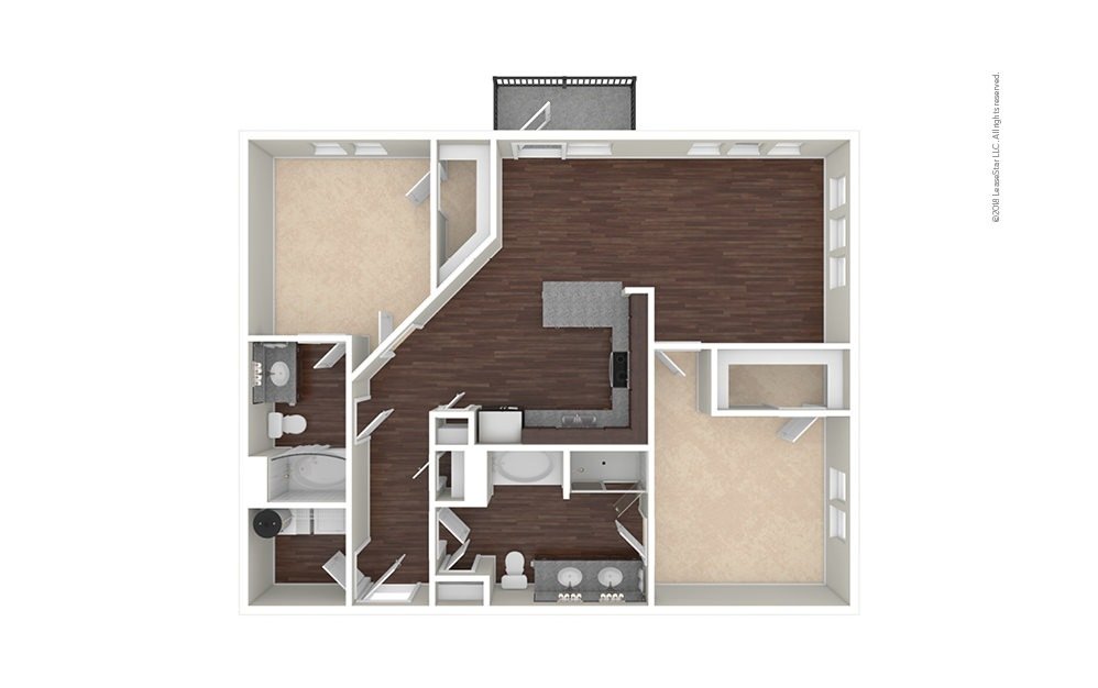 B7 2 bedroom 2 bath 1304 square feet (1)