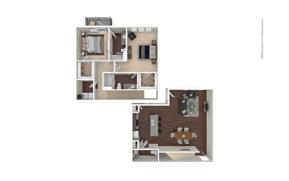 B9 2 bedroom 2.5 bath 1517 square feet