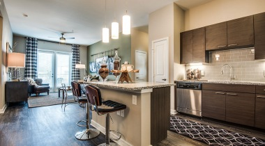 Luxury apartment kitchen at Cortland Las Colinas