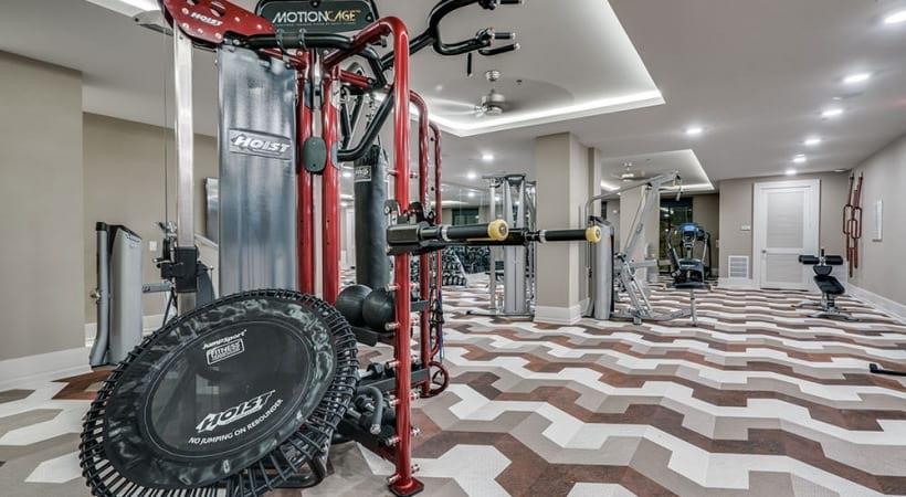 Fitness center at Las Colinas, TX apartments