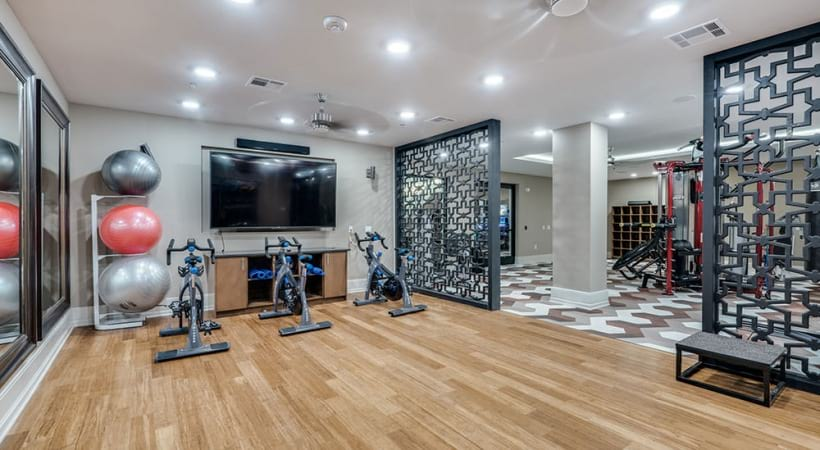 Yoga and spin studio at our Las Colinas apartments in Irving, TX