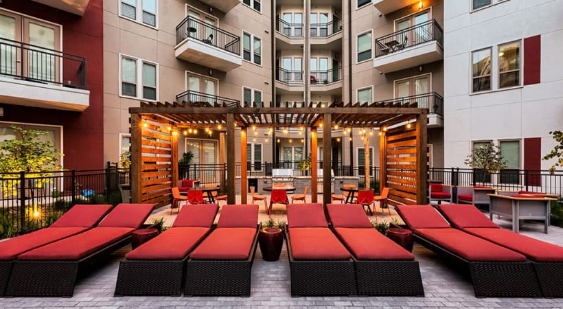 Poolside cabanas at Las Colinas luxury apartments