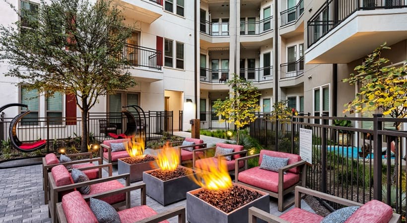 Outdoor fire pits at Las Colinas luxury apartments