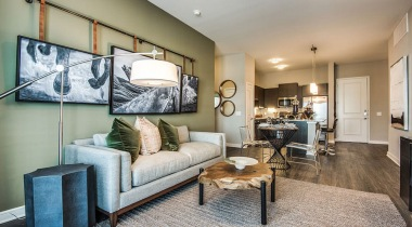 Spacious apartment living room at Cortland Las Colinas