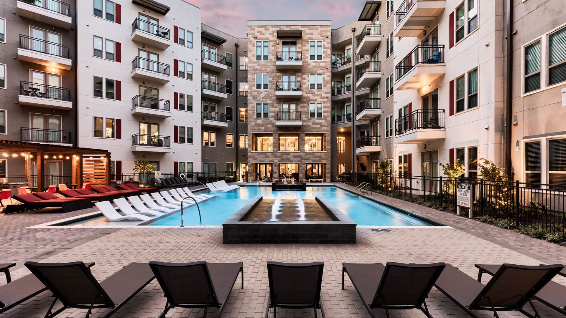 Las Colinas apartment complex with pool