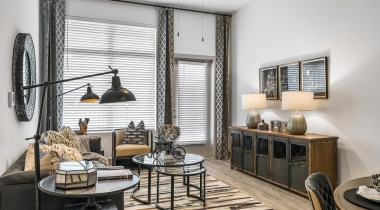 Modern apartment living room at Cortland Vesta in Birmingham