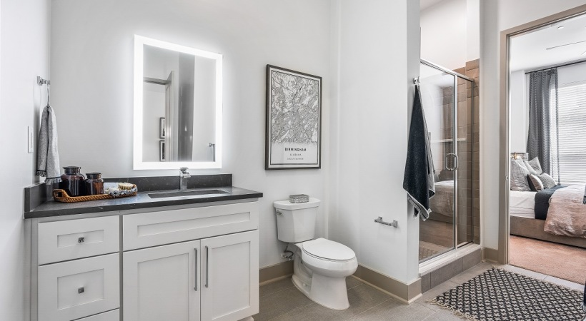 Luxury apartment bathroom at Cortland Vesta