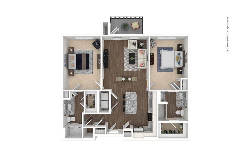 Iron 2 bedroom 2 bath 1159 square feet