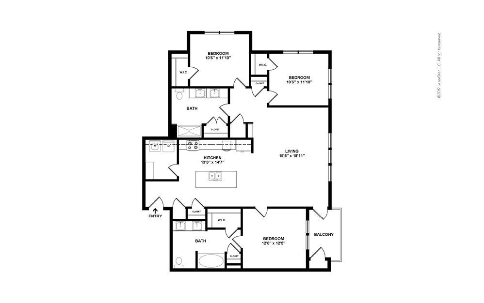 Tee 3 bedroom 2 bath 1462 square feet (2)