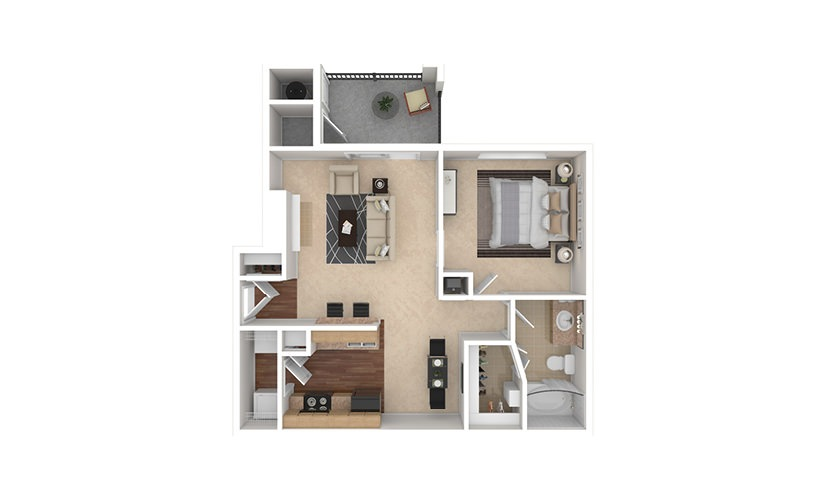 A3 1 bedroom 1 bath 692 square feet