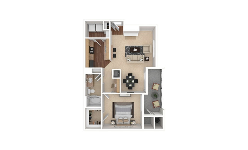 A4 1 bedroom 1 bath 798 square feet