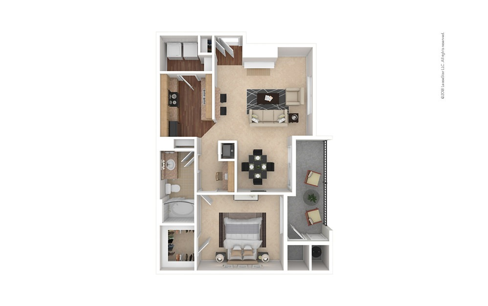 A4 1 bedroom 1 bath 798 square feet