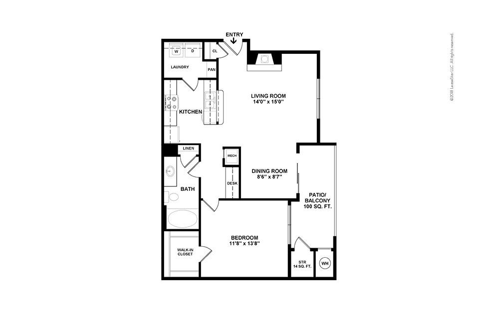 A4 1 bedroom 1 bath 798 square feet (2)