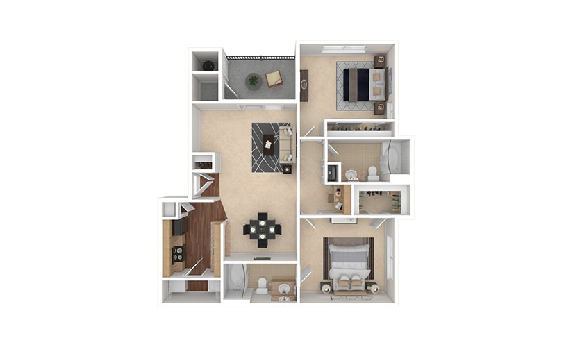 B2 2 bedroom 2 bath 1010 square feet