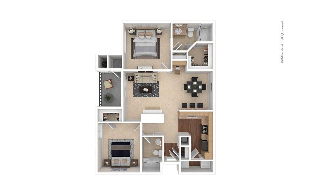 B3 2 bedroom 2 bath 1084 square feet