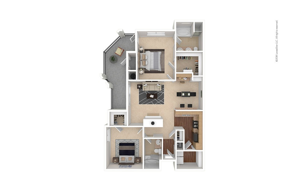 B4 2 bedroom 2 bath 1181 square feet