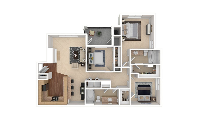 C2 3 bedroom 2 bath 1388 square feet