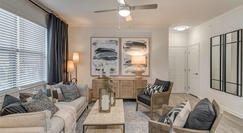 Luxury apartment living room at Cortland Southpark Estates