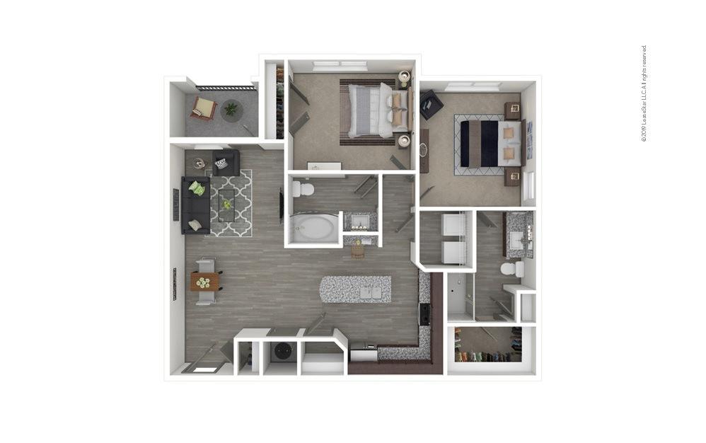 B2 2 bedroom 2 bath 1121 square feet