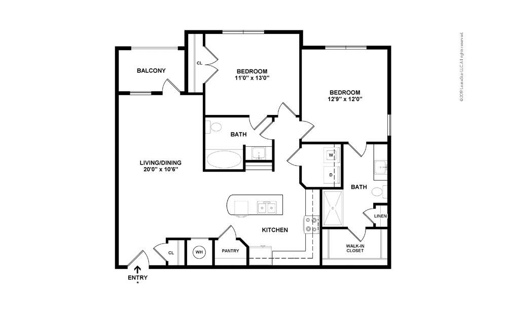 B2 2 bedroom 2 bath 1121 square feet (2)