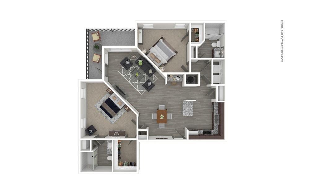 B4 2 bedroom 2 bath 1279 square feet