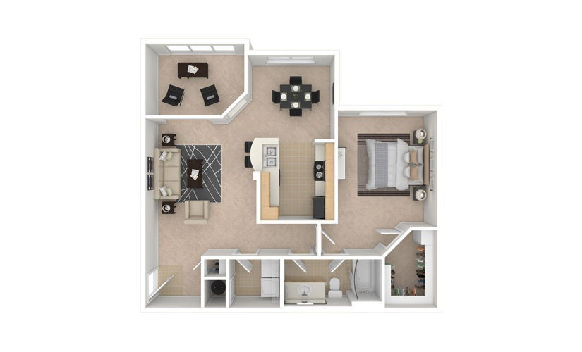 Daisy 1 bedroom 1 bath 955 square feet