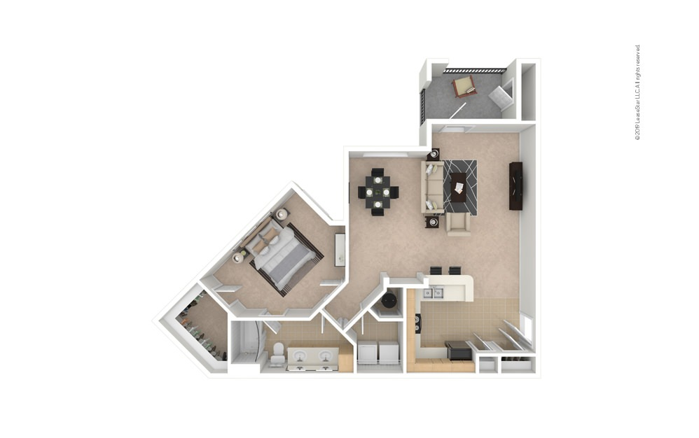 Dandelion 1 bedroom 1 bath 969 square feet