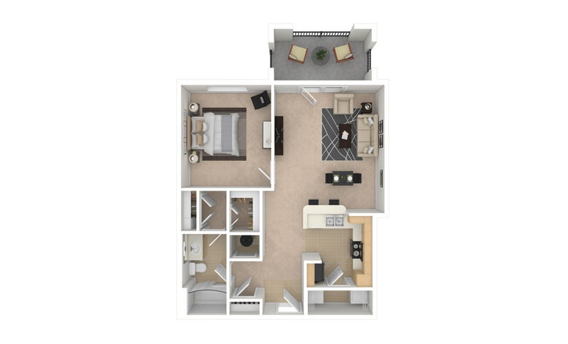 Begonia 1 bedroom 1 bath 770 square feet