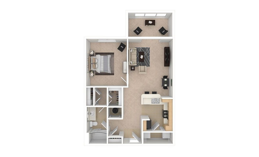 Chrysanthemum 1 bedroom 1 bath 842 square feet