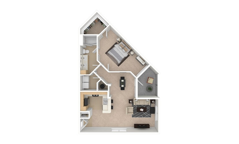 Dahlia 1 bedroom 1 bath 899 square feet
