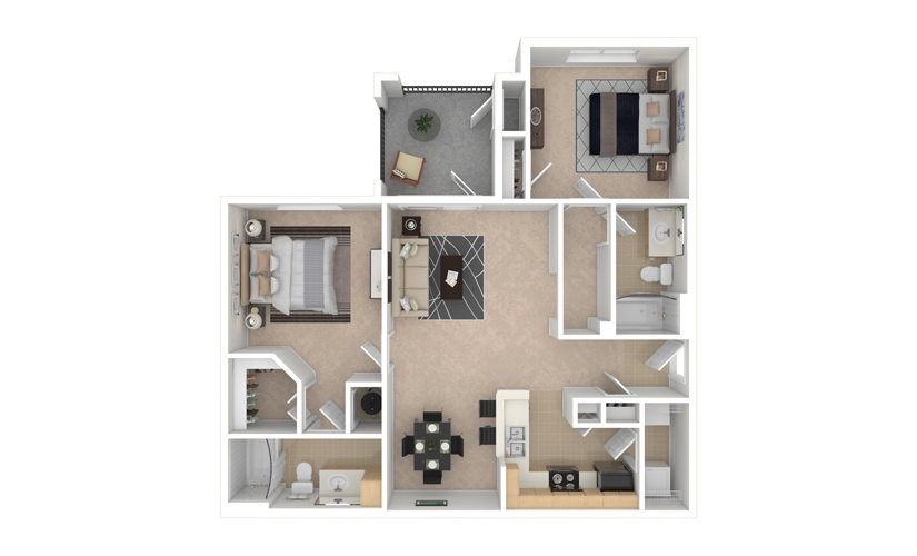 Geranium 2 bedroom 2 bath 1068 square feet