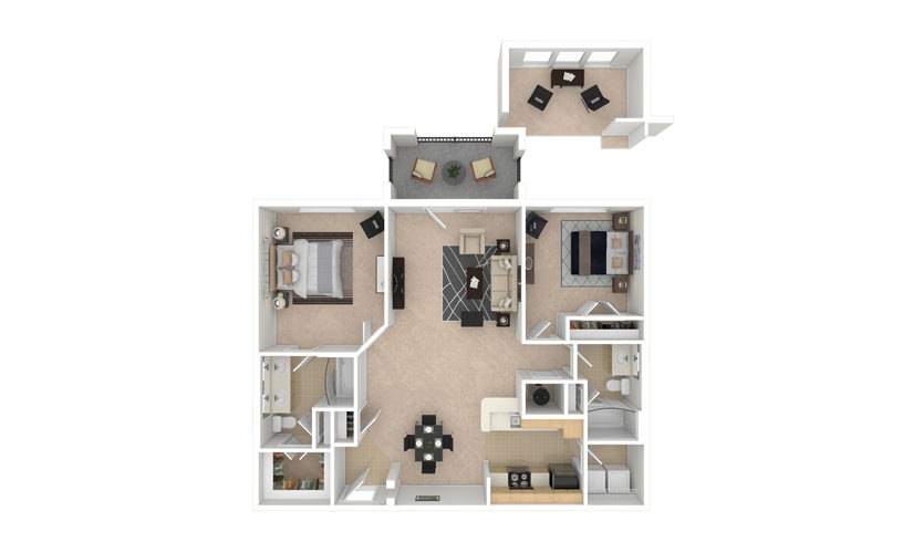 Hollyhock 2 bedroom 2 bath 1150 square feet