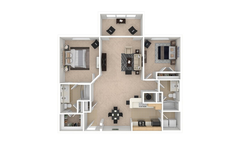 Lily 2 bedroom 2 bath 1252 square feet