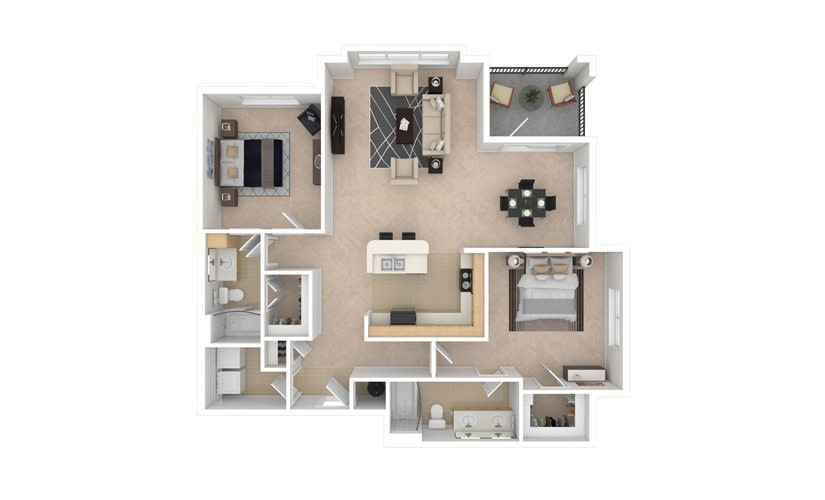 Periwinkle 2 bedroom 2 bath 1320 square feet