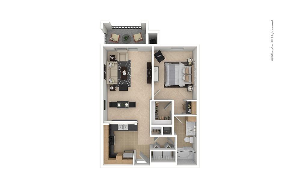 A2 1 bedroom 1 bath 700 square feet