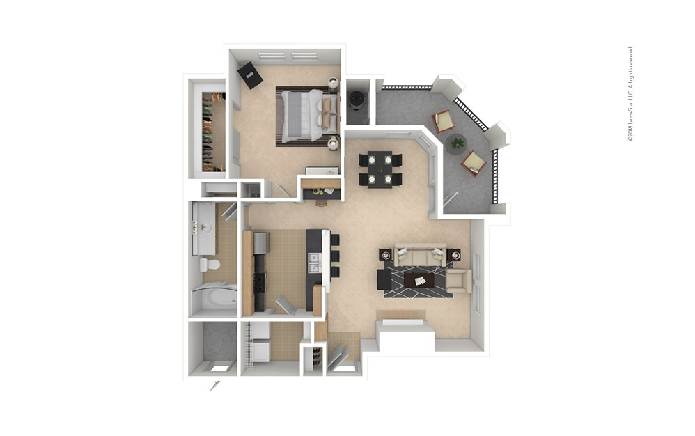 A3 1 bedroom 1 bath 836 square feet