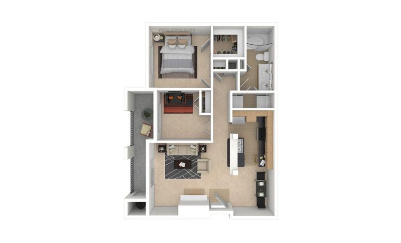 B1 2 bedroom 1 bath 910 square feet