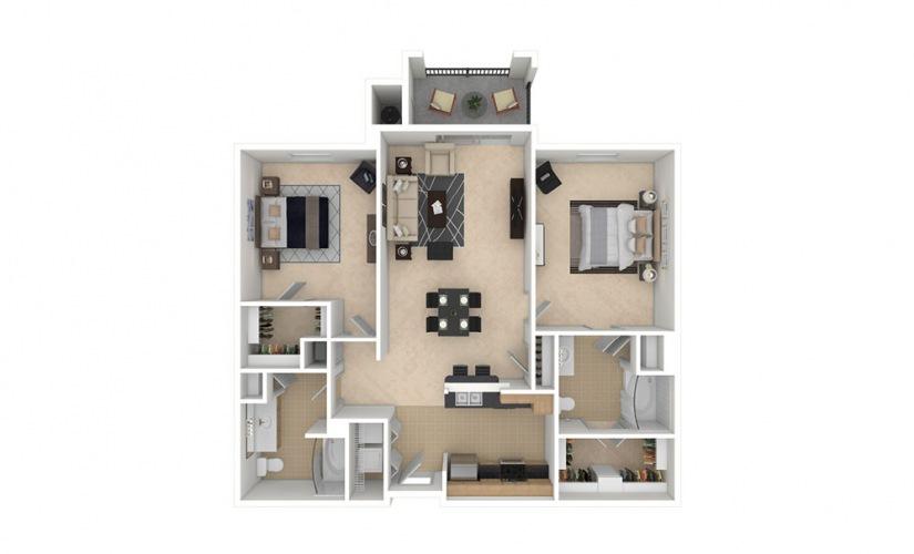 B2 2 bedroom 2 bath 1055 square feet