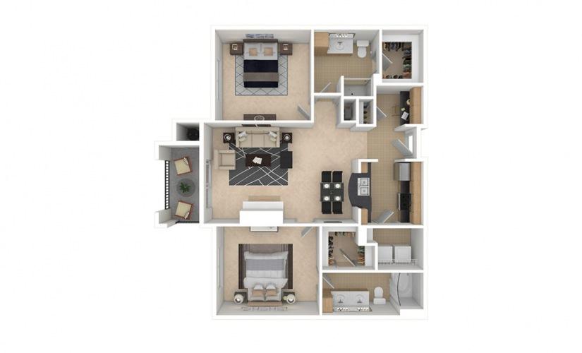 B3 2 bedroom 2 bath 1163 square feet