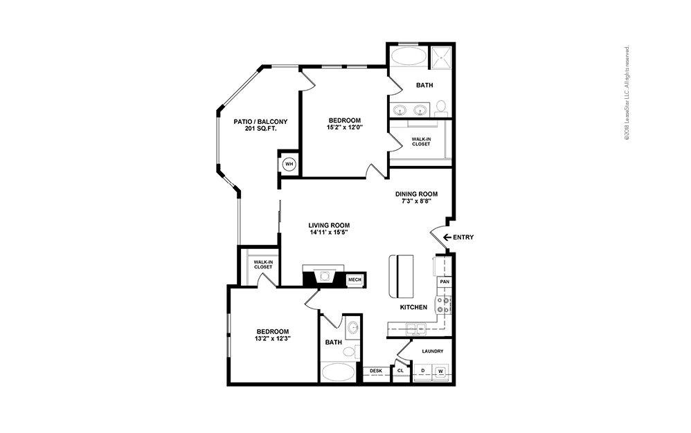 B4 2 bedroom 2 bath 1212 square feet (2)