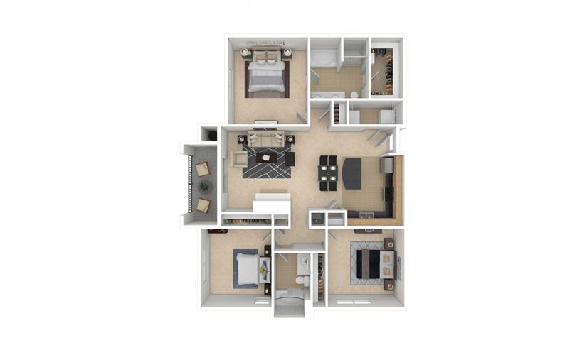 C1 3 bedroom 2 bath 1348 square feet