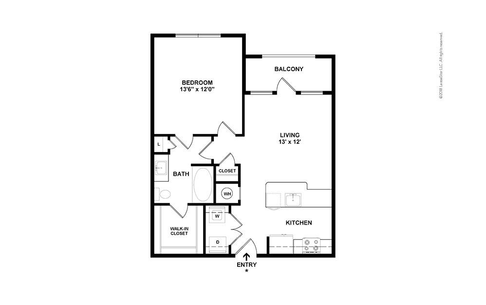 A1 1 bedroom 1 bath 661 square feet (2)