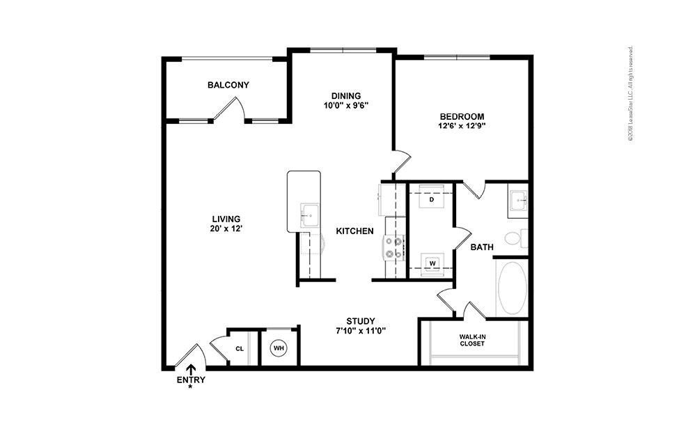 A6 1 bedroom 1 bath 984 square feet (2)