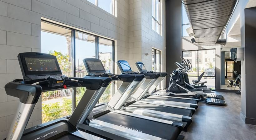 Fitness center at luxury apartments in Sanford, FL