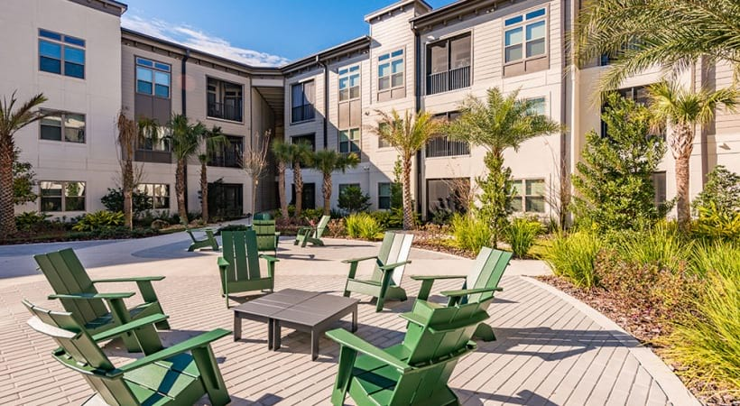 Outdoor lounge at apartments in Sanford, FL