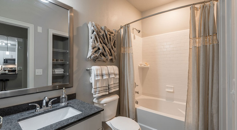 Luxury apartment bathroom at Cortland Vera Sanford